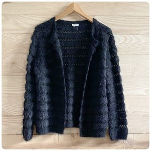 NWOT SIONI BLACK FLUFFY OPEN FRONT CARDIGAN